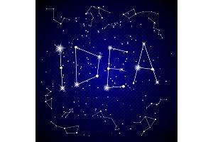 Idea word on night sky pop art vector