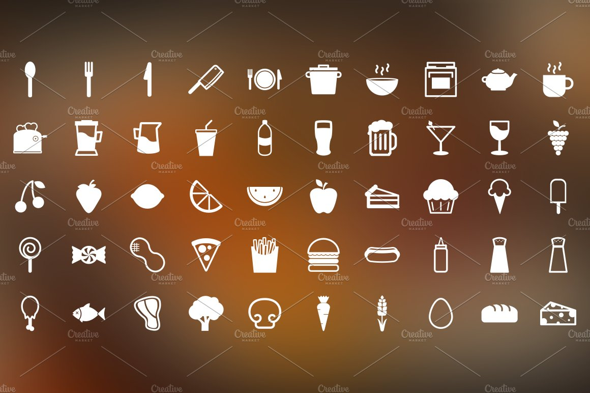 Snack Time 50 Food Themed Icons Icons Creative Market
