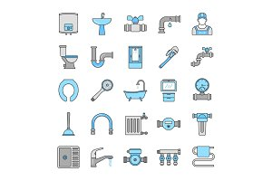 Plumbing color icons set