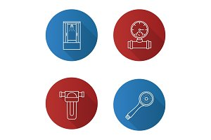 Plumbing flat linear long shadow icons set