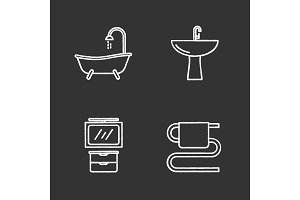 Bathroom interior chalk icons set