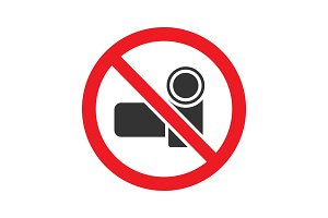 Forbidden sign with video camera glyph icon