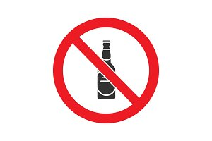 Forbidden sign with beer bottle glyph icon