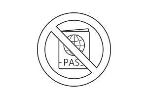 Forbidden sign with passport linear icon