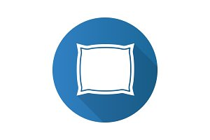 Square pillow flat design long shadow glyph icon