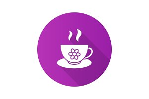 Herbal tea cup flat design long shadow glyph icon