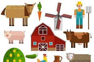 Flat Farm Icon Set