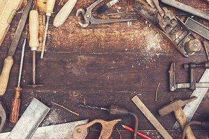 retro wood working tools header