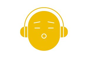 Smile with earphones glyph color icon
