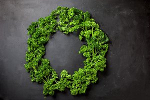 wreath of vegetables and herbs