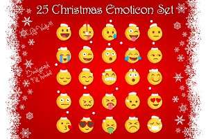 25 Christmas Vector Emoji Set