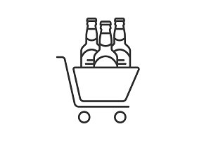 Shopping cart with beer bottles linear icon
