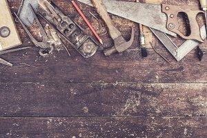 retro wood workers desk header