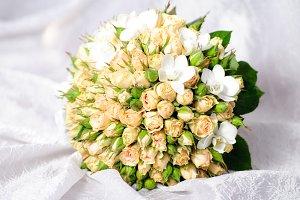 Wedding peach-coloured bouquet