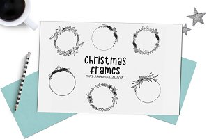 Round christmas frames - hand drawn