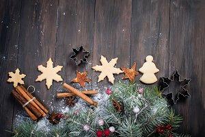 Christmas fir branches, coocies,  sp