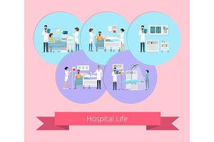 Hospital Life Visualization Vector Illustration