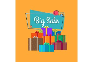 Big Sale Inscription in Square Bubble and Presents