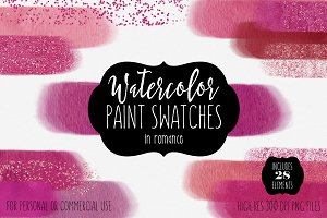 Watercolor Paint Swatches in Romance
