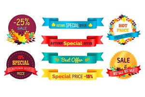 Best Products Sale Labels Set with Percent Signs