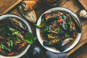 Belgian boiled mussels in tomato sauce