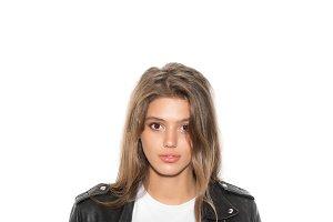 girl biker in a black jacket
