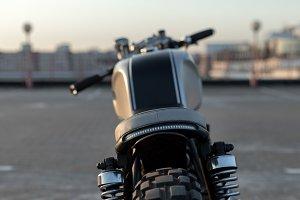 Vintage custom motorcycle on parking