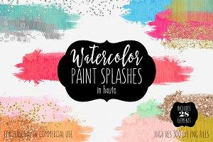 Watercolor Paint Splash Rectangles
