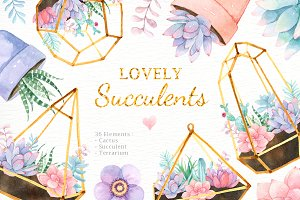 Lovely Succulents Watercolor Clipart