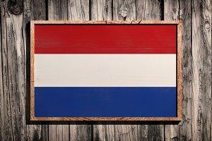Wooden Netherlands flag