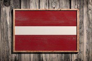 Wooden Latvia flag