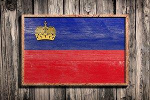 Wooden Liechtenstein flag