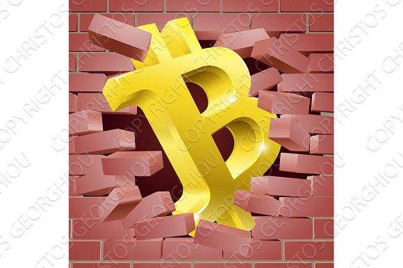 Bitcoin Sign Breaking Through Wall Concept