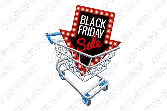 Black Friday Sale Shopping Trolley Sign