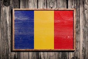 Wooden Romania flag