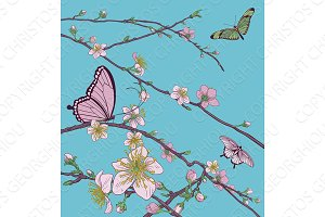 Cherry Peach Blossom Tree Flowers and Butterflies