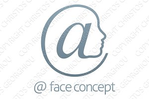 At Sign Symbol Face Concept