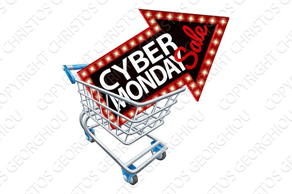 Shopping Trolley Cyber Monday Sale Sign