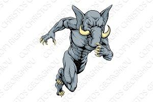 Elephant sports mascot running