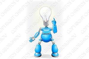 Blue robot light bulb head