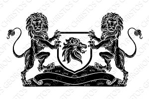 Crest Lion Shield Coat of Arms Heraldic Emblem