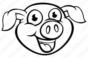 Pig Mascot Cartoon Character
