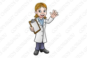 Scientist or Lab Technician Cartoon Character