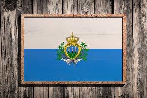 Wooden San Marino flag