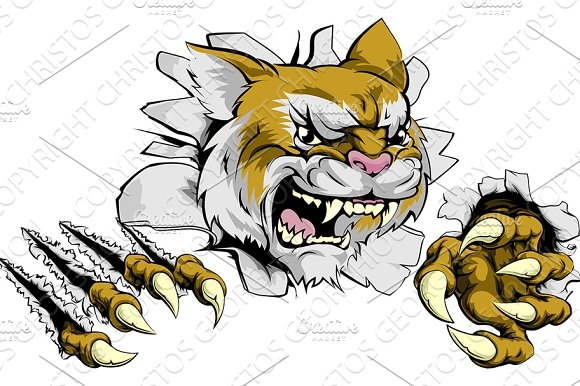 Angry Wildcat Sports Mascot