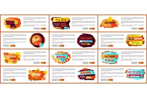 Big Set of Fall Autumn Sale Web Posters Promo Ads
