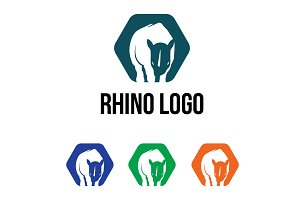 Rhino Rhinoceros Hexagon Logo