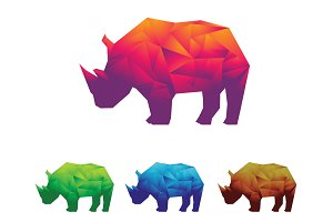 Rhino Rhinoceros Low Poly Polygon
