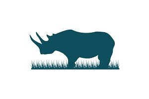 Rhino Silhouette Rhinoceros On Grass
