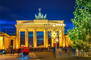 Brandenburg gate and christmas tree